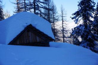 zugedeckt mit Schnee