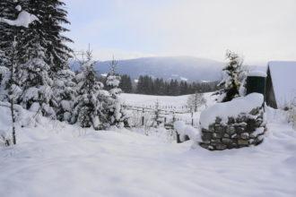 Sommerdusche unter Schnee